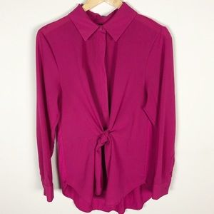 INC International Concepts Fuchsia Tie Front Top L